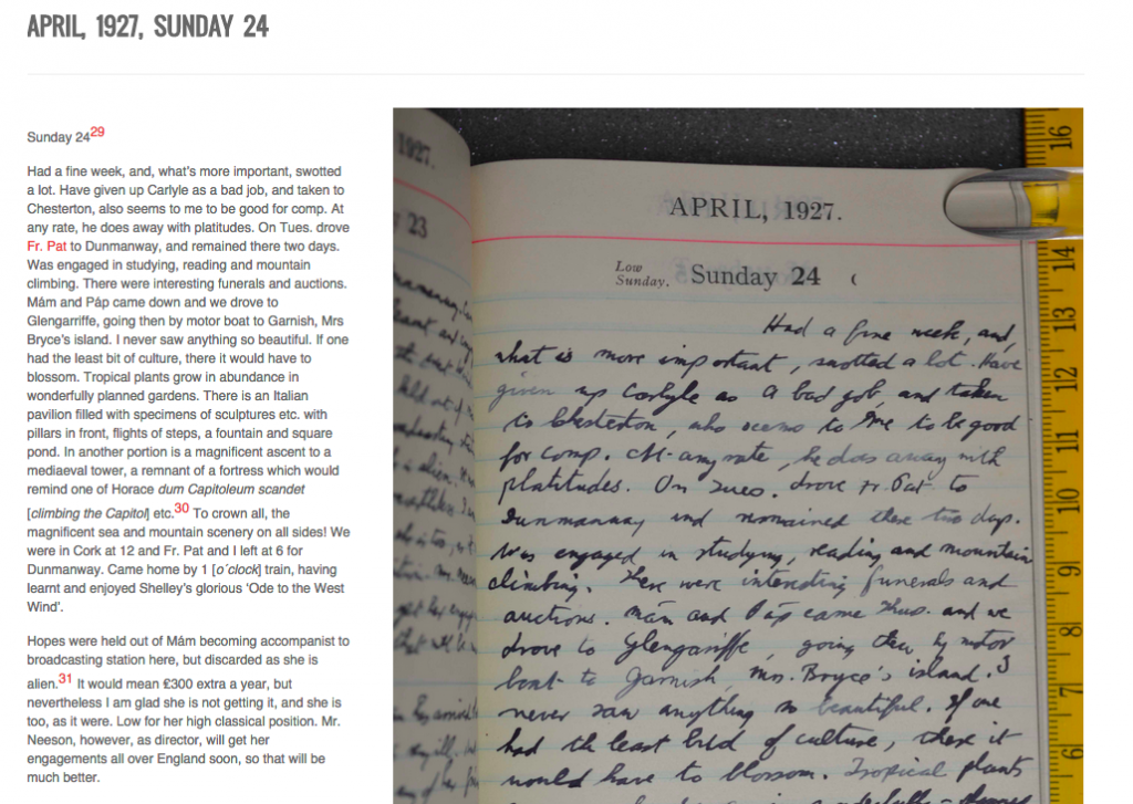 The same diary page next to the transcribed text